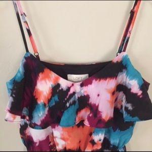 Ann Taylor Loft Watercolor Ruffle Maxi Dress